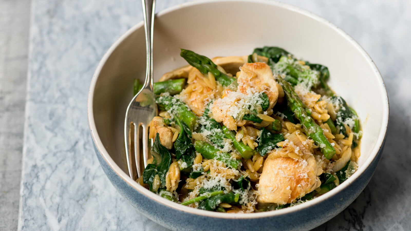 British Asparagus Chicken and Spinach Orzo